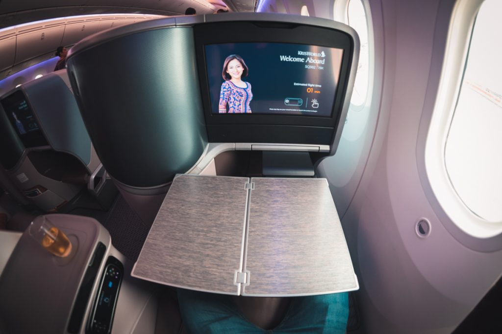 Singapore Airlines 787-10 Business Class tray table