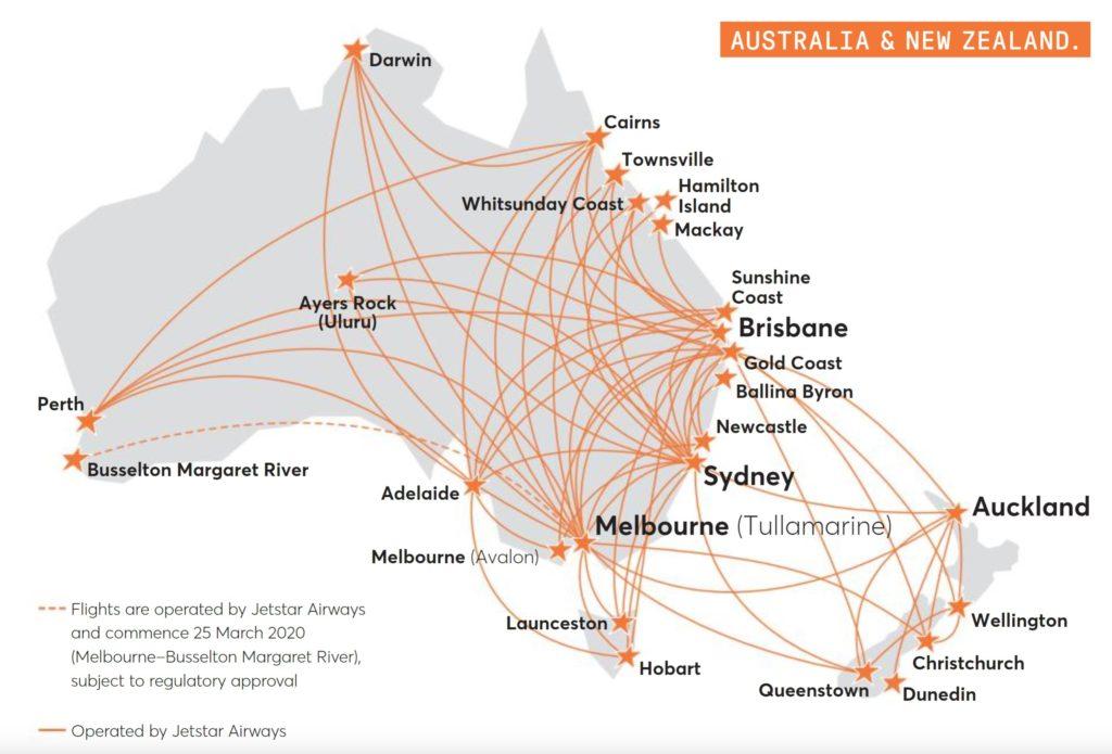 Jetstar Australia Route Map