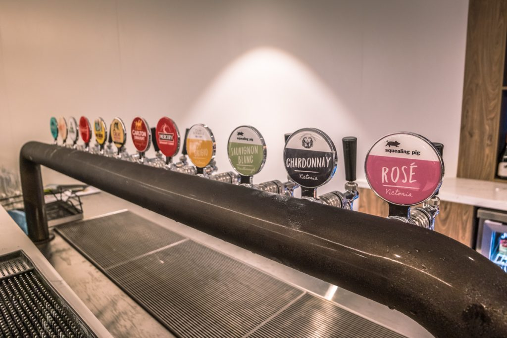 New American Express Lounge Sydney draft beers