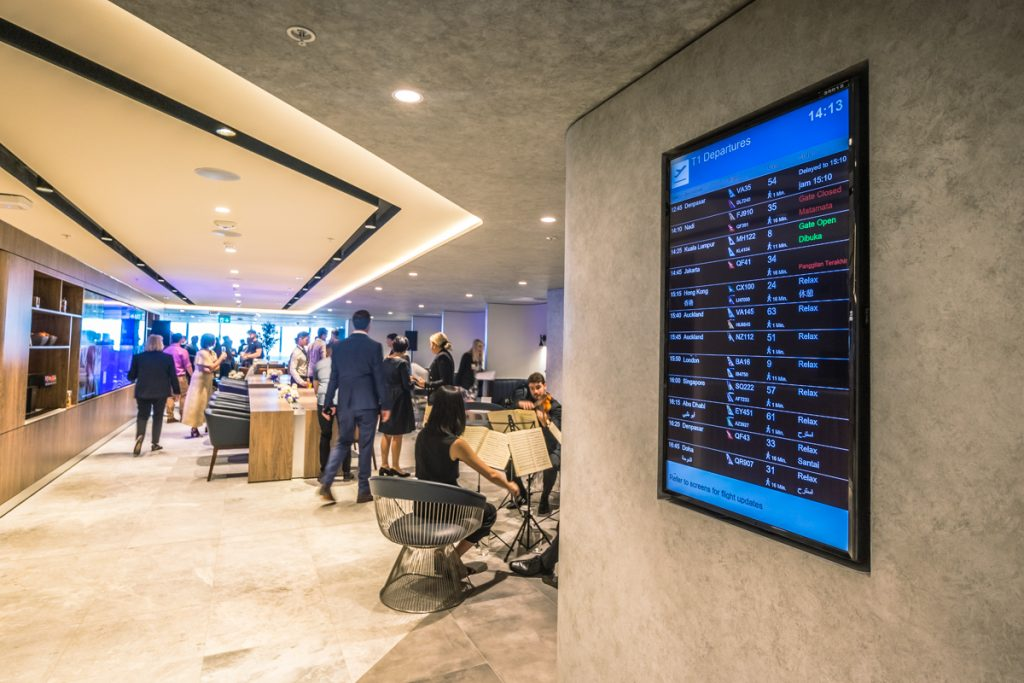 New American Express Lounge Sydney digital board