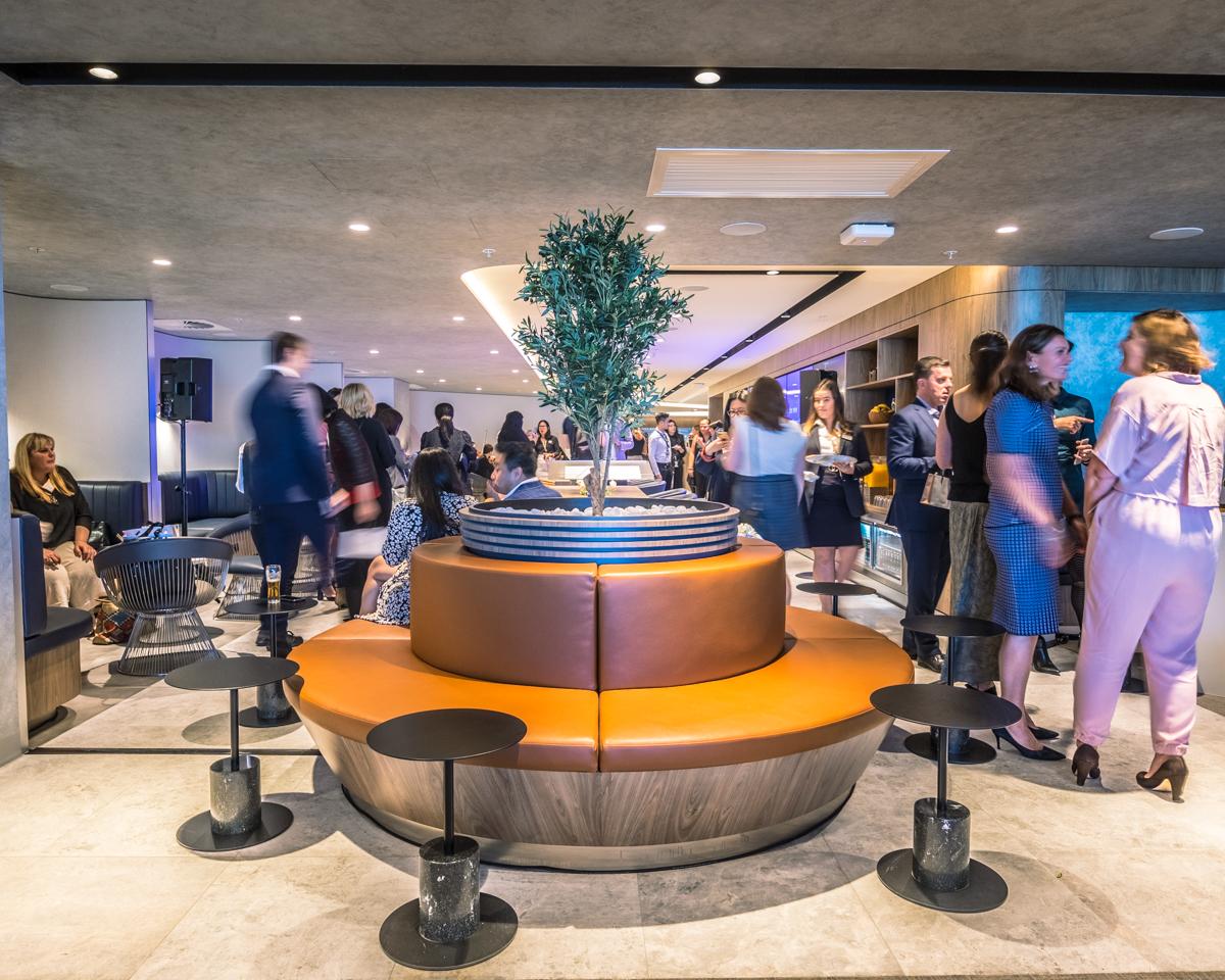 New American Express Lounge Sydney round sofa