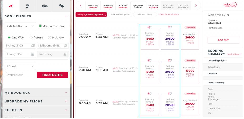 Virgin Australia Reward Seats booking