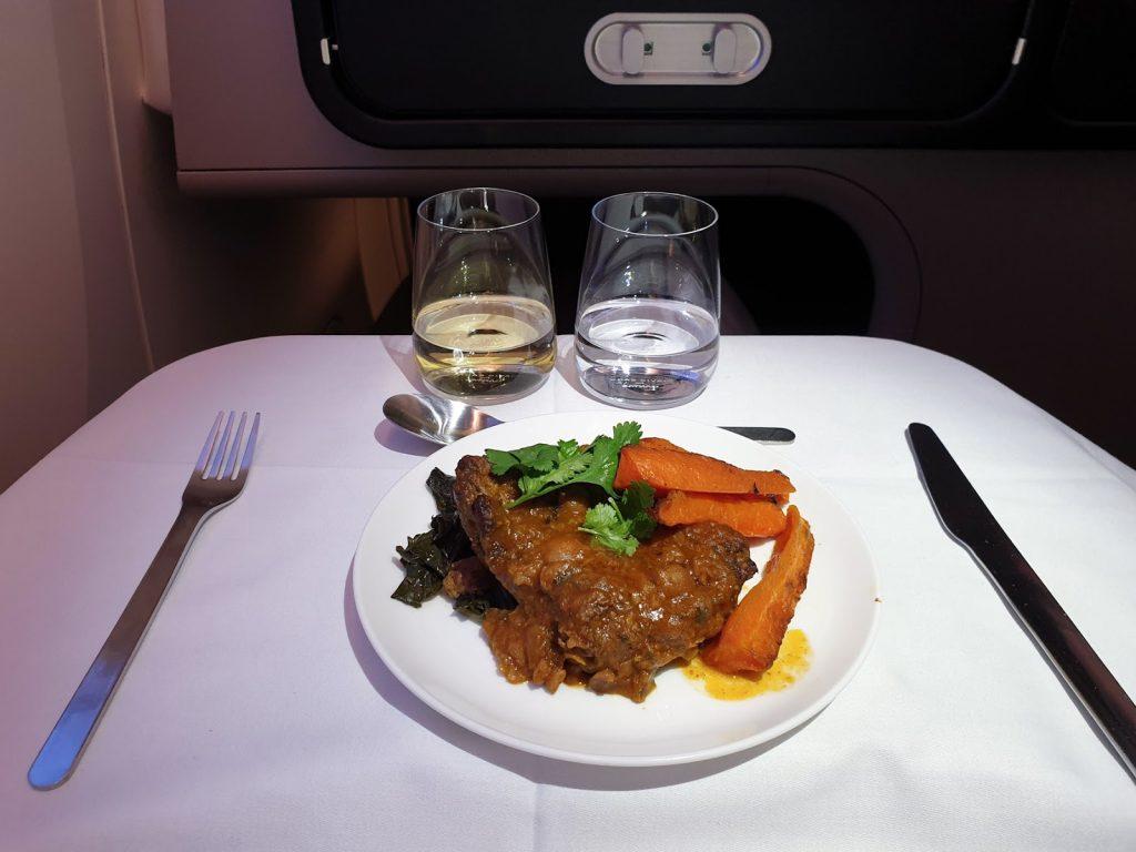 QF9 Qantas 787 Business Class - Moroccan duck tagine