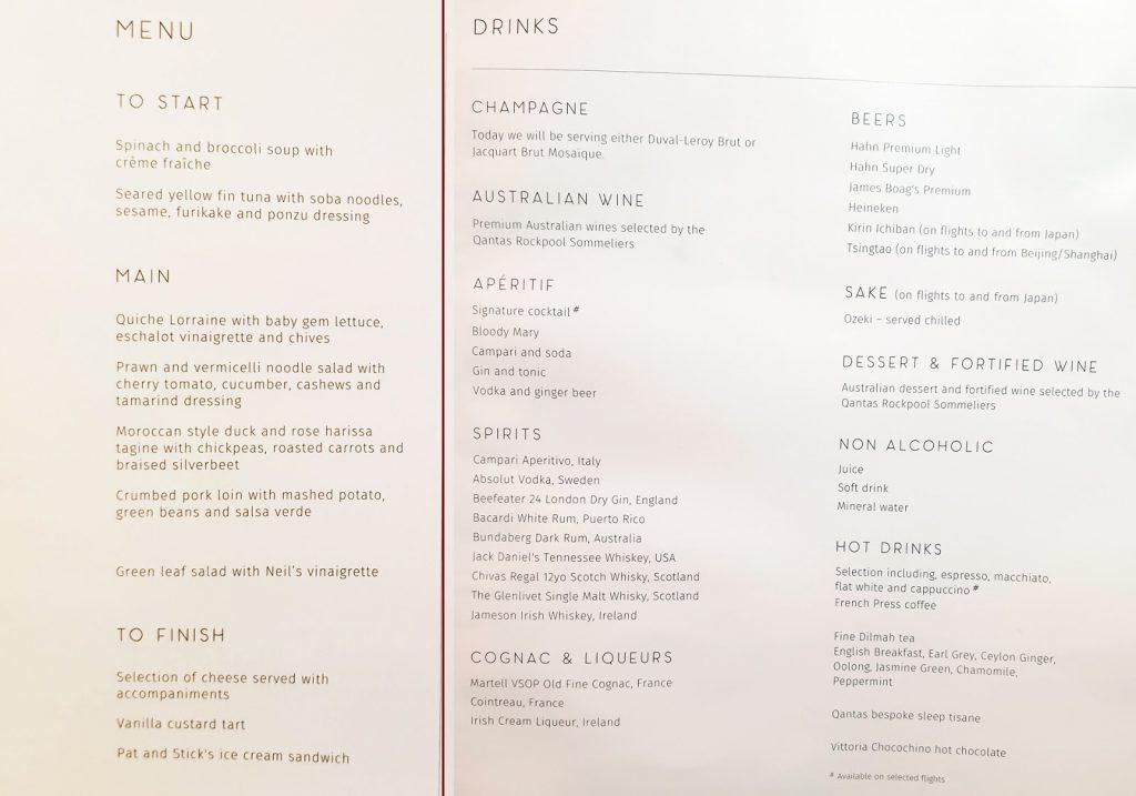 QF9 Qantas 787 Business Class onboard menu