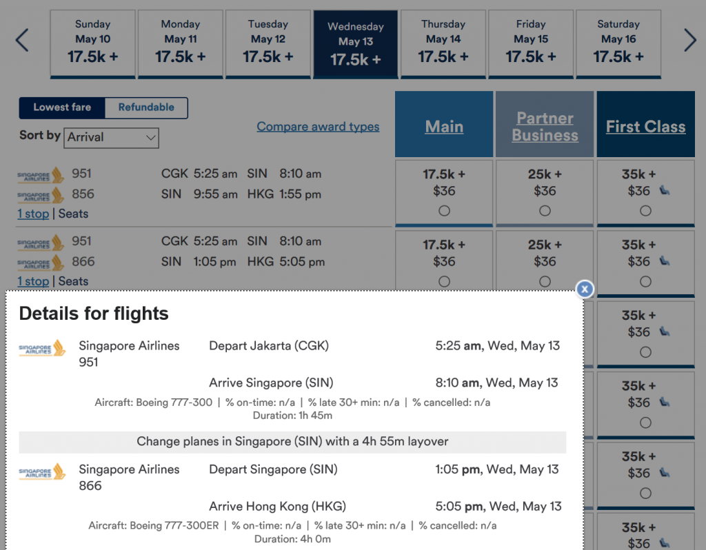 Redeem Alaska Miles for Singapore Airlines - Singapore to Hong Kong