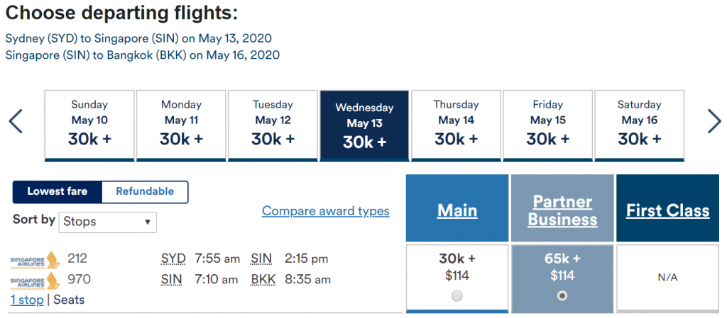 Redeem Alaska Miles for Singapore Airlines - Sydney to Bangkok via Singapore