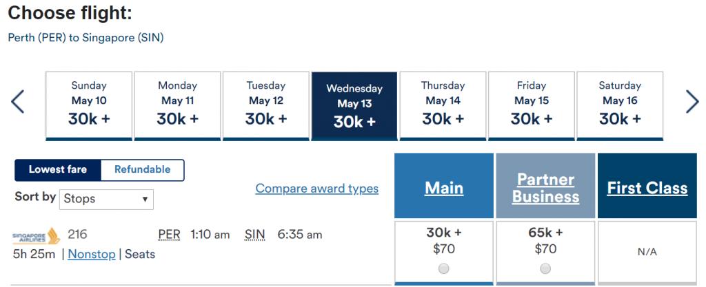 Redeem Alaska Miles for Singapore Airlines - Perth to Singapore