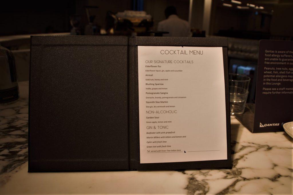 Qantas International London Lounge cocktail menu