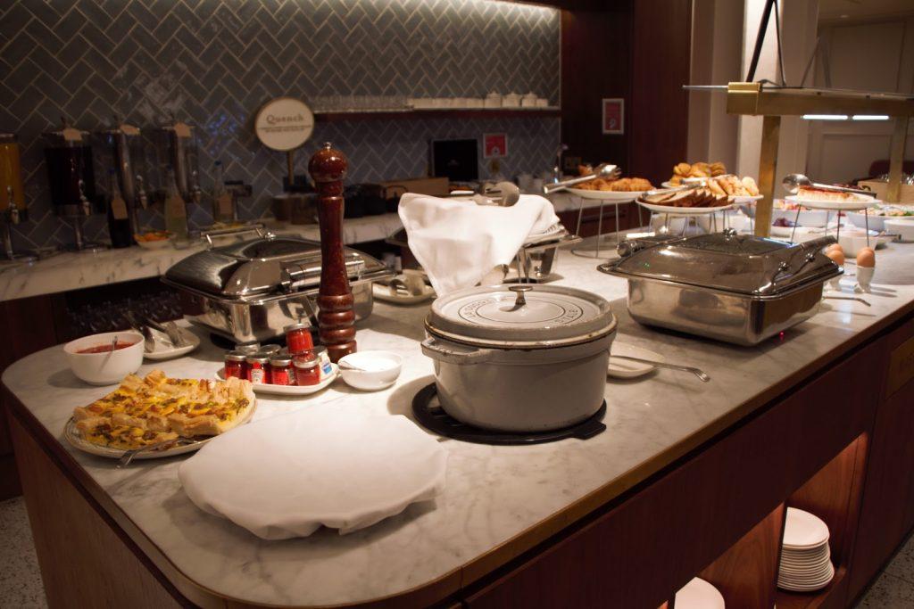 Qantas International London Lounge breakfast buffet