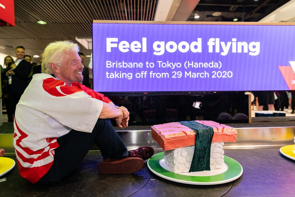 Richard Branson at the Virgin Brisbane - Haneda flight launch