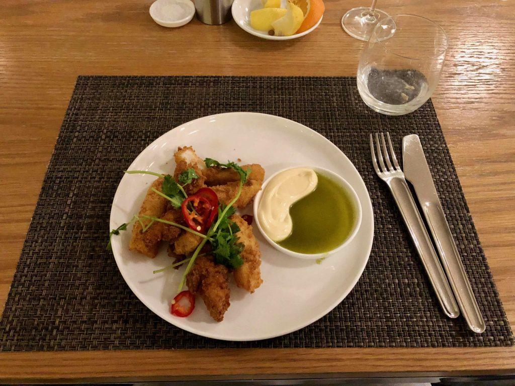 Qantas International First Lounge LAX food