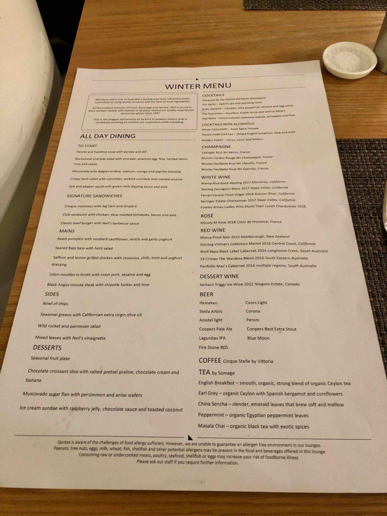 Qantas International First Lounge LAX menu