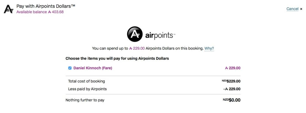 Pay with Airpoints