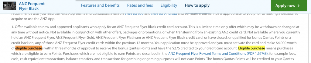 ANZ Frequent Flyer Black eligible purchases definition