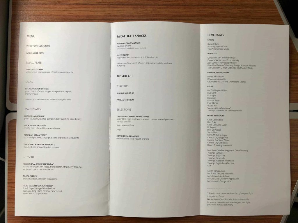 American Airlines 787-9 Business Class menu