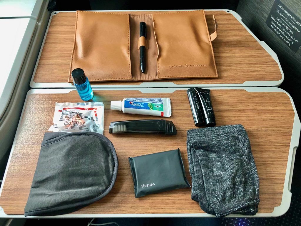 American Airlines 787-9 Business Class amenities kit