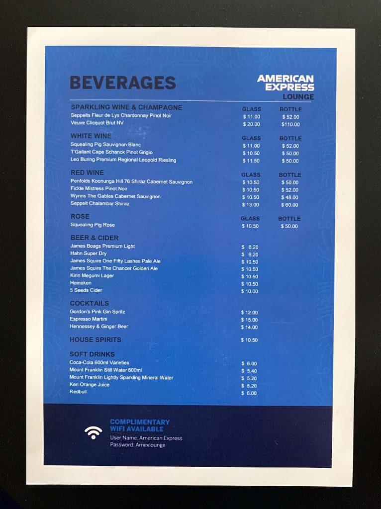 American Express Invites Qudos Bank Arena beverage menu