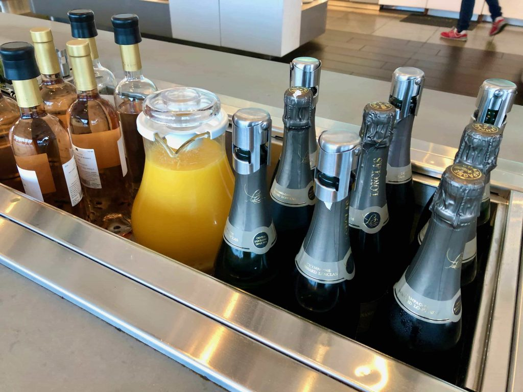 American Airlines Flagship Lounge Los Angeles champagne