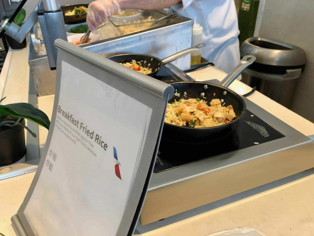 American Airlines Flagship Lounge Los Angeles fried rice station