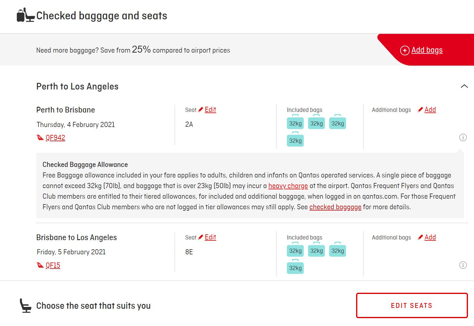 Qantas new booking interface - select seats