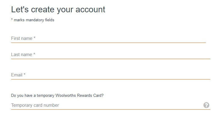 Woolworths Rewards - creating an account