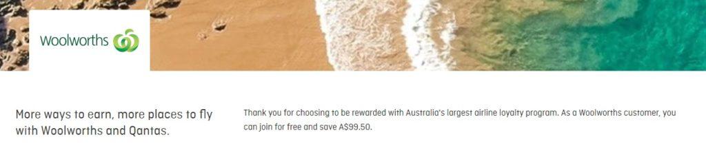 Woolworths - free Qantas membership signup