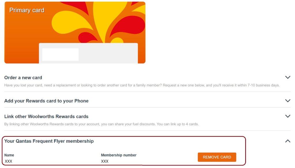 Woolworths Rewards - linking Qantas account