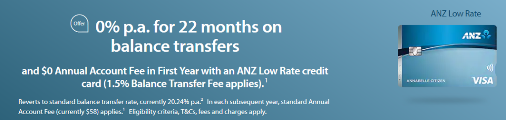 ANZ Low Rate Card BT offer