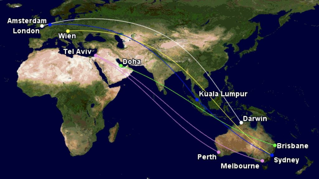 Unusual routings Australia in March-April 2020