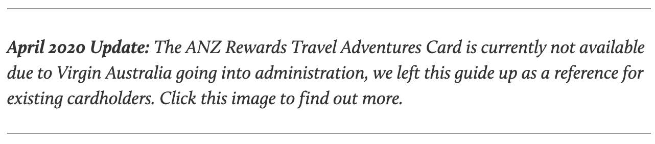 ANZ Rewards Travel Adventures Card - Virgin Australia disclaimer