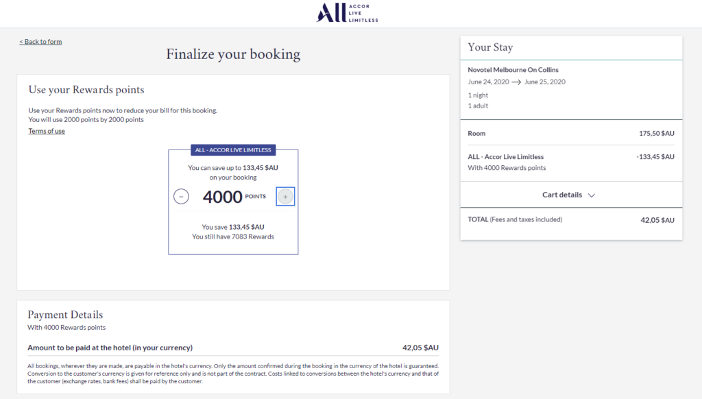 Example Redemption using Accor Rewards points for a stay at Novotel Melbourne