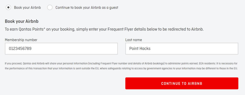 Qantas Hotels ensure membership number is included for Airbnb