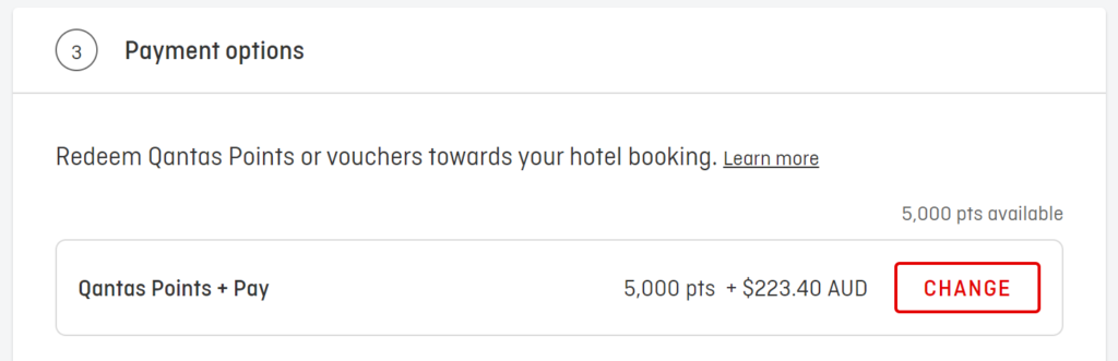 Points + Pay booking example