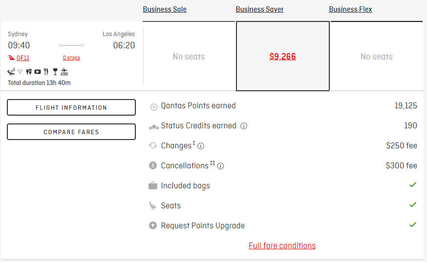 Using Qantas Points - Sydney to Los Angeles in Cash
