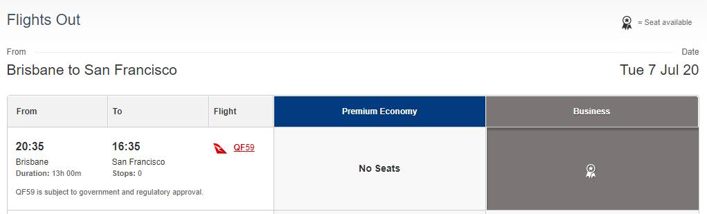 Using Qantas Points - Brisbane to San Francisco Business