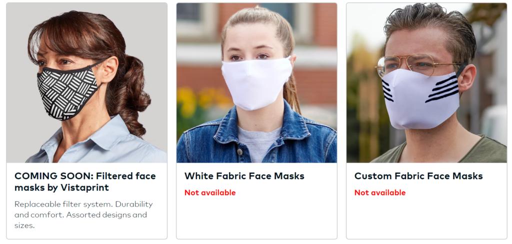 Vistaprint's range of face masks