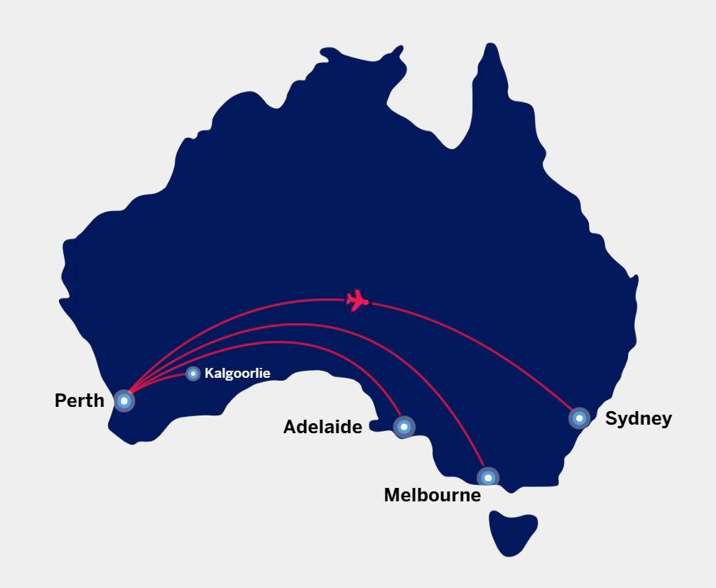 Virgin Australia AMEX free flight destinations from Perth.