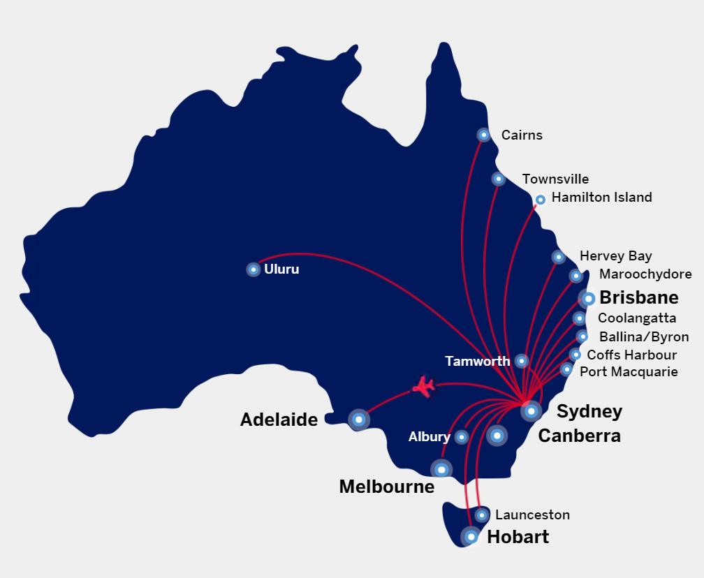 Virgin Australia AMEX free flight destinations from Sydney.