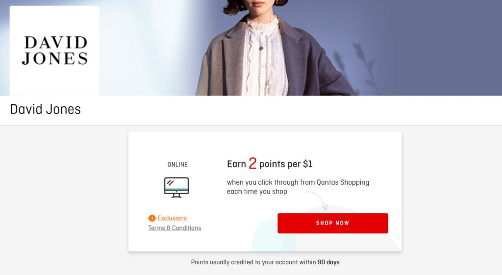 Qantas Online Mall - David Jones