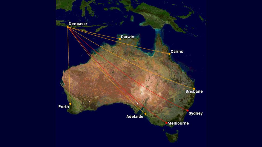 Qantas and Jetstar flights to Bali