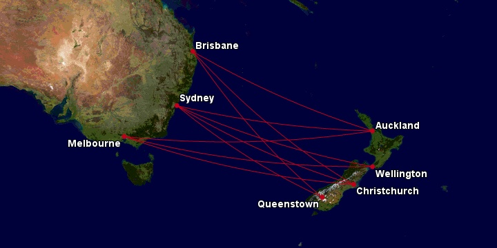Qantas routes between Australia and New Zealand (as of Jan 2020)