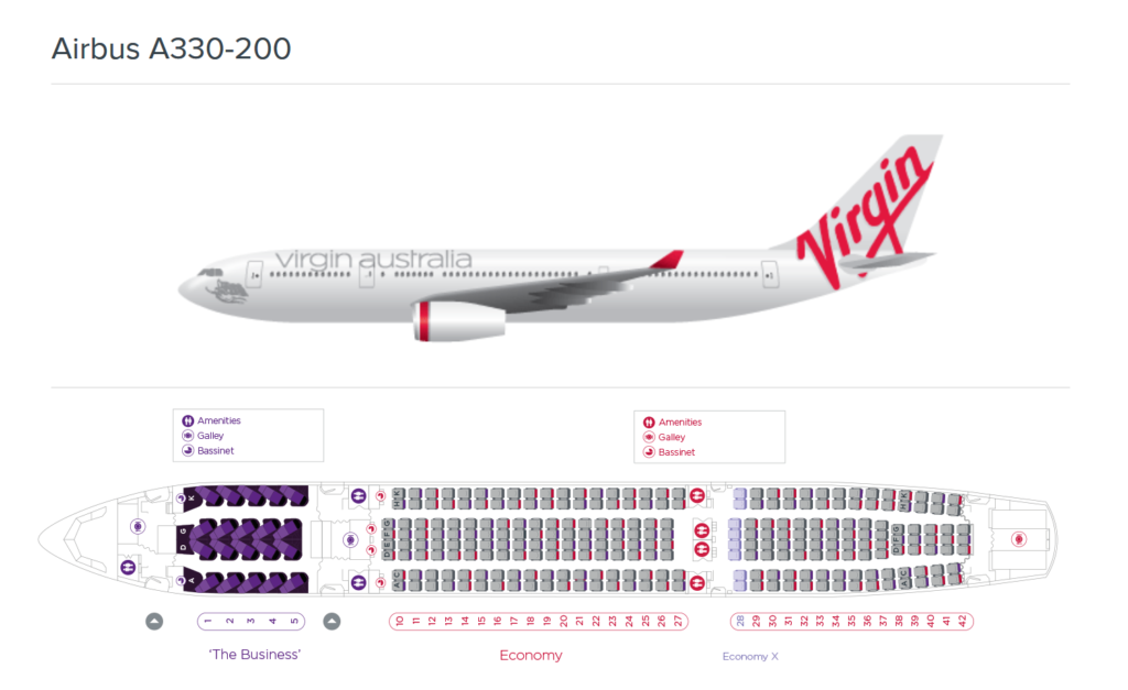 Virgin Australia A330-200 seat map