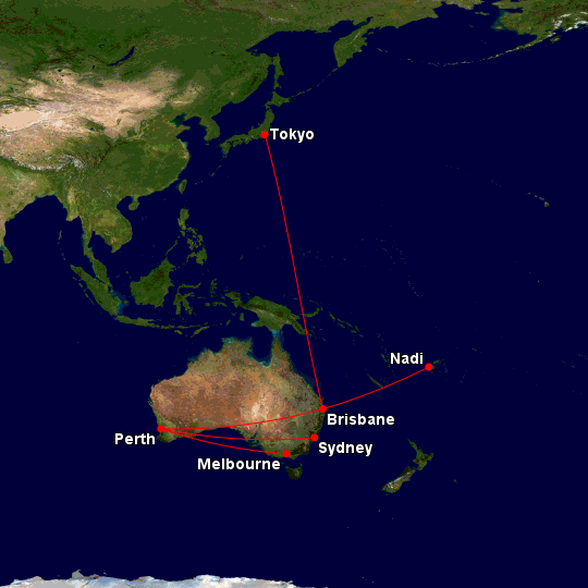 Virgin Australia A330 routes