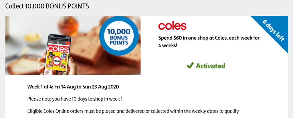 Coles Flybuys 10,000 bonus points promotion