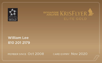 New KrisFlyer Elite Gold card