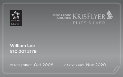 New KrisFlyer Elite Silver card