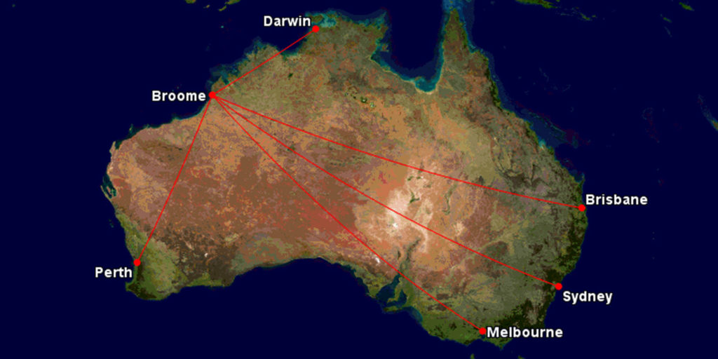 Qantas routes to Broome