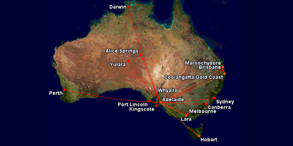 Qantas and Jetstar routes to Adelaide