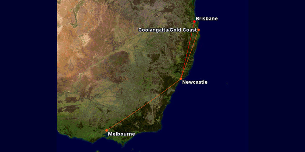 Qantas and Jetstar routes to Newcastle