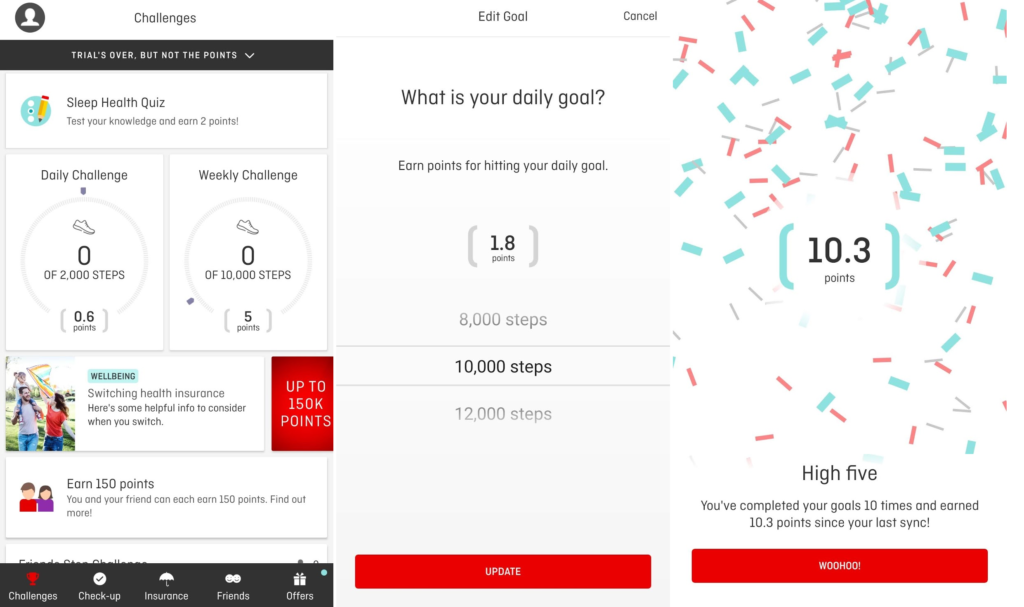 Examples of setting step goals and earning rewards with the Qantas Wellbeing App